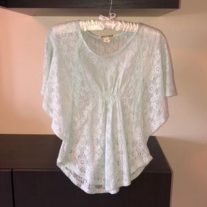 light blue woven blouse